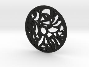 Drop Spindle Whorl--Geometric in Black Natural Versatile Plastic