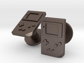 Gameboy Cufflinks in Polished Bronzed Silver Steel