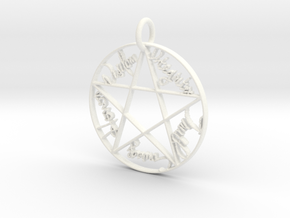 Pentacle Pendant in White Processed Versatile Plastic