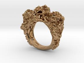 Skull Biker ring RS005000001 in Polished Brass: 6 / 51.5