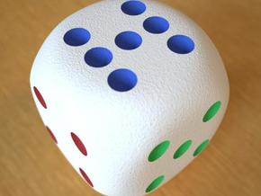 Lucky 7 Dice - hollow in Full Color Sandstone
