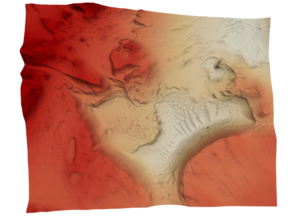 Mars Map: Light Outcrops in False Red in Full Color Sandstone