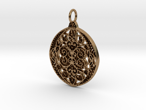 Christmas Holdiday Lace Ornament Pendant Charm in Natural Brass