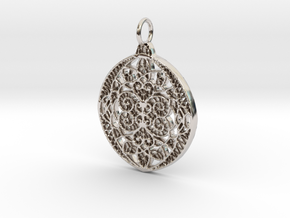 Christmas Holdiday Lace Ornament Pendant Charm in Rhodium Plated Brass
