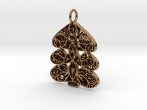 Christmas Tree Holdiday Lace Pendant Charm in Natural Brass