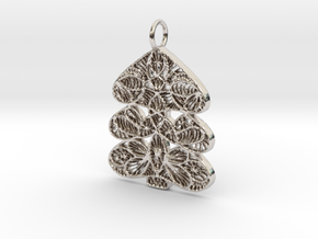Christmas Tree Holdiday Lace Pendant Charm in Platinum