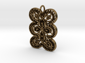 Lace Ornament Pendant Charm in Natural Bronze