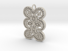 Lace Ornament Pendant Charm in Natural Sandstone
