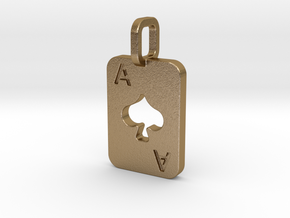 Ace of Spades Card in Polished Gold Steel