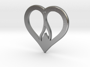 The Flame Heart (precious metal pendant) in Natural Silver