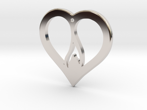 The Flame Heart (precious metal pendant) in Rhodium Plated Brass