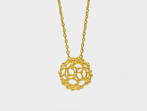 Buckyball C60 Molecule Necklace in 18k Gold Plated Brass