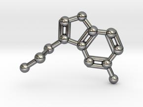 Serotonin Molecule Necklace in Polished Silver