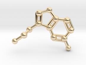 Serotonin Molecule Necklace in 14K Yellow Gold