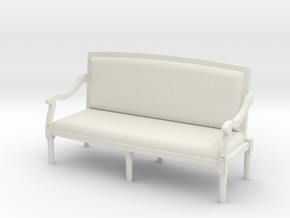 1:48 Louis XVI Sofa Settee with Curved Back in White Natural Versatile Plastic