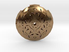 Hollow Rune Medallion in Natural Brass