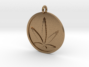 Cannabis Pendant in Natural Brass