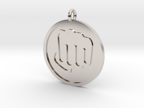 Fisted Hand Pendant in Rhodium Plated Brass