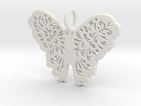 Flourish Lace Butterfly Pendant Charm in White Natural Versatile Plastic
