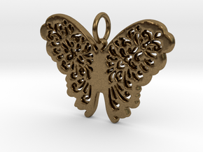 Flourish Lace Butterfly Pendant Charm in Natural Bronze