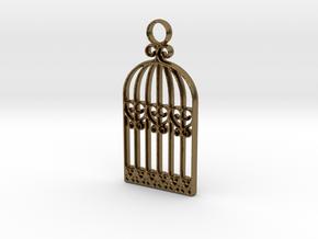 Vintage Birdcage Pendant Charm in Natural Bronze