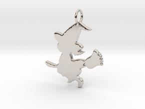 Cartoon Witch Cute Halloween Pendant Charm in Rhodium Plated Brass