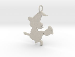 Cartoon Witch Cute Halloween Pendant Charm in Natural Sandstone
