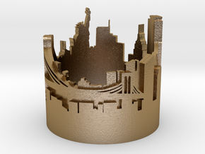 Ring NY New York Skyline in Polished Gold Steel: 9 / 59