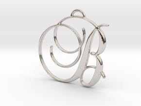 Elegant Script Monogram B Pendant Charm in Rhodium Plated Brass