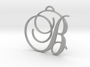 Elegant Script Monogram B Pendant Charm in Aluminum