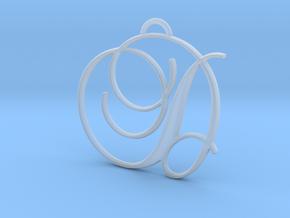 Elegant Script Monogram D Pendant Charm in Smooth Fine Detail Plastic