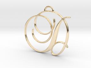 Elegant Script Monogram D Pendant Charm in 14K Yellow Gold