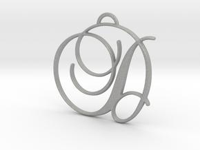 Elegant Script Monogram D Pendant Charm in Aluminum