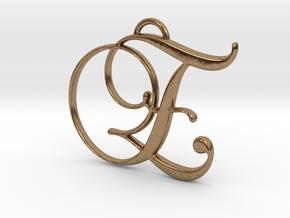Elegant Script Monogram E Pendant Charm in Natural Brass