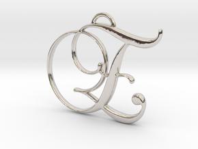 Elegant Script Monogram E Pendant Charm in Rhodium Plated Brass