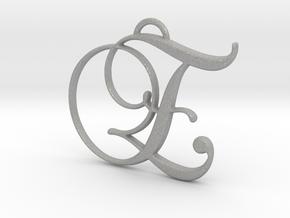 Elegant Script Monogram E Pendant Charm in Aluminum