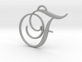 Elegant Script Monogram F Pendant Charm in Aluminum