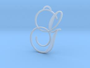 Elegant Script Monogram G Pendant Charm in Smooth Fine Detail Plastic