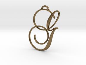 Elegant Script Monogram G Pendant Charm in Natural Bronze