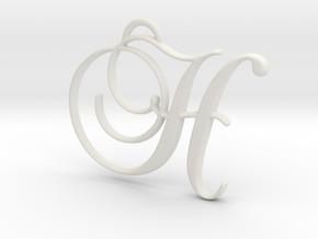Elegant Script Monogram H Pendant Charm in White Natural Versatile Plastic