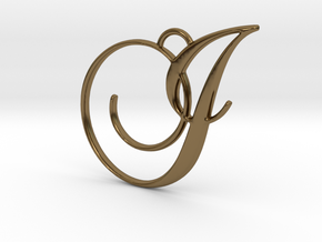 Elegant Script Monogram I Pendant Charm in Polished Bronze