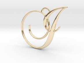 Elegant Script Monogram I Pendant Charm in 14K Yellow Gold