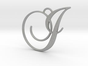Elegant Script Monogram I Pendant Charm in Aluminum