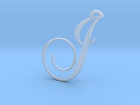 Elegant Script Monogram J Pendant Charm in Smooth Fine Detail Plastic