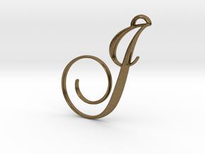 Elegant Script Monogram J Pendant Charm in Natural Bronze