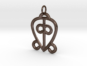 Power of Love Pendant (small) in Polished Bronze Steel