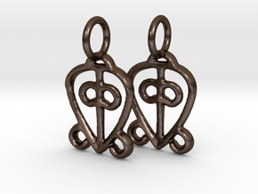 Power of Love Charms (pair) in Polished Bronze Steel