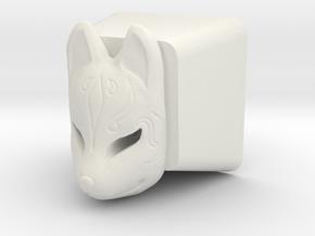 Kitsune Mask Cherry MX Keycap in White Natural Versatile Plastic