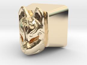 Kitsune Mask Cherry MX Keycap in 14k Gold Plated Brass