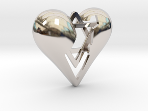 Israel in Heart Pendant in Rhodium Plated Brass